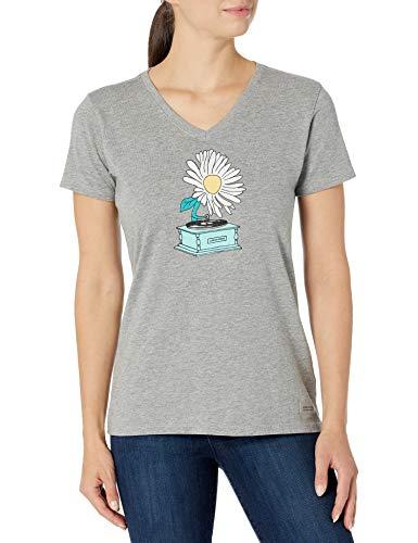 Life Is Good T-Shirt à col en V pour Femme Motif Floral Gris chiné Taille XXL