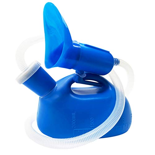 Urinals for Men Women Male Urine Bottle Potty Portable Thick Pee Bottle 2000 ML 47  Long Tube Spill Proof Male and Female Potty Pee Jug for Hospital Home Camping Travel Emergency (Blue)