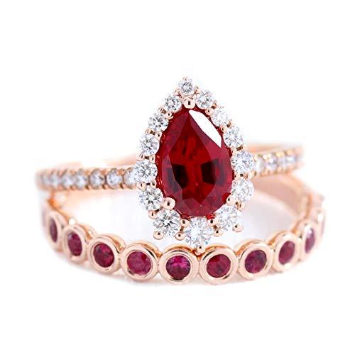 Shine Jewel Anillo Tiara Plata de Ley 925 Corte de Pera Rubí cz Anillo de Diamantes simulados Anillo de Oro Rosa para Mujer (12)