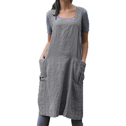Vestido sin Mangas de algodón y Lino para Mujer Delantal Holgado de Color sólido Delantal de Cocina