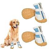 Olymajy Juego de 4 Zapatos para Perros Verano Zapatos para Perros Transpirables Antideslizantes con Suela Antideslizante Resistente y Resistente al Desgaste para medianos y Cachorros - Azul