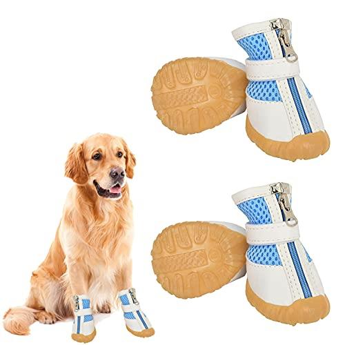 Olymajy 4 PCS Scarpe per Cani Scarpe per Cani estive Stivali protettivi per Cani Scarpe Cani Antiscivolo,Cani Scarpe Mesh Traspiranti per Prevenire Graffi Scorrevoli,Adatto per Cani di Piccola Taglia