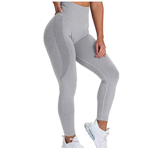 A/N Seamless Knitted Hip Buttocks Moisture Wicking Yoga Pants Sports Fitness Pants Sexy Hip Female Leggings Light Gray