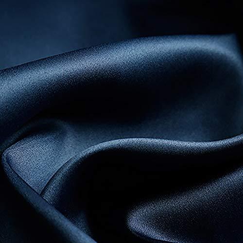 MUYUNXI Raso Satinato Seta Usato per Pigiama Cappello Dormire Biancheria Intima Tovaglia Eventi per Matrimoni Feste 150 Cm di Larghezza Venduto al 2 Metro(Color:Blu Navy)