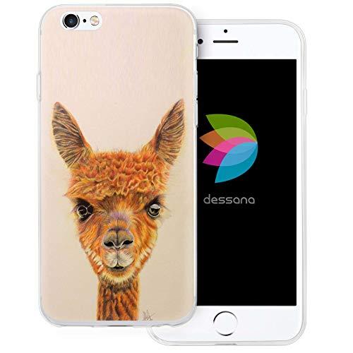 dessana Comic Lama Alpaca transparante beschermhoes mobiele telefoon case cover tas voor Apple iPhone 6/6S Plus Lama schilderij