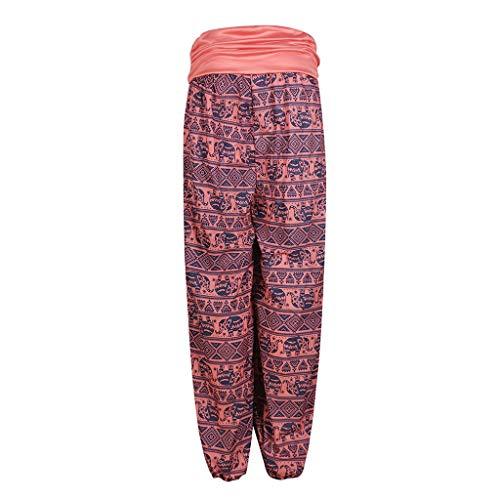Lazzboy Women Harem Yoga Relaxed Trousers Plus Size Ethnic Boho Floral Elephant Ink Dot Print Pants Ladies Trouser(5XL(20),Red-Elephants)