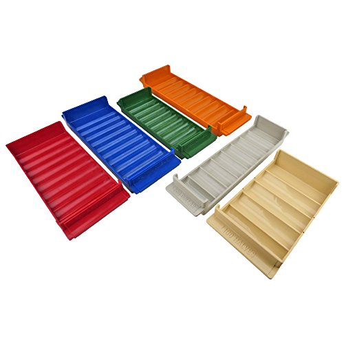Rolled Coin Storage 6 Tray Set, Color-Coded Heavy Duty Plastic, Assorted Colors