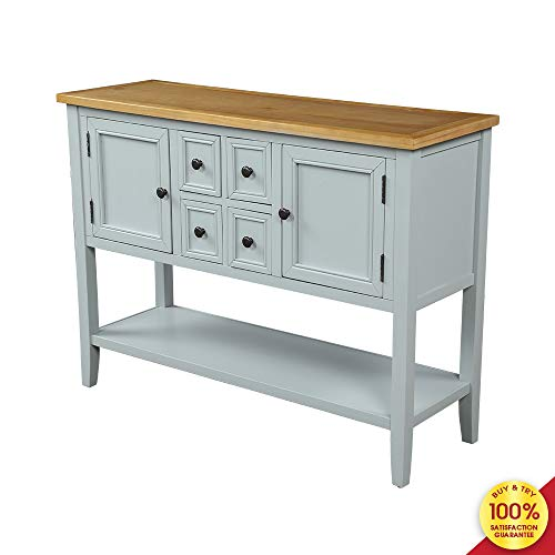 Romatlink Buffet Table Porch Table Series Buffet Side Cabinet Porch Table with 4 Storage Drawers and Chassis, Two Cabinets and Chassis, Sideboard, Porch Table Furniture (Ivory White)