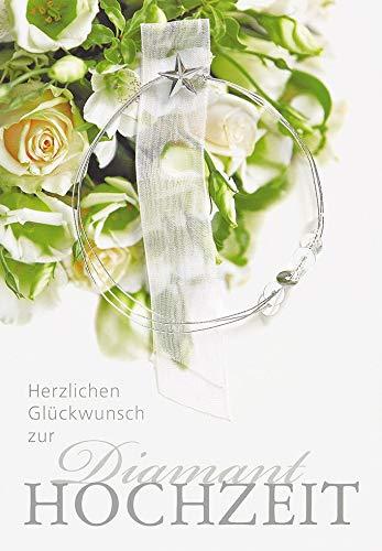 Perleberg zur Diamanthochzeit Lifestyle - Rosen, mit Drahtstern - 11,6 x 16,6 cm, 7730001-2
