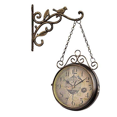Orologio da Parete Vintage, Orologio su Due Lati, Struttura Resistente in Ferro, Vintage, Ampio quadrante, Kit Montaggio Incluso