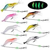 Pinsheng 7 Piezas Cebo camarón Artificial, Señuelo de Pesca de camarón Luminoso Suave con Gancho, Luminoso Silicona Kit de Cebo de Señuelos de Camarón para Agua Dulce Agua Salada