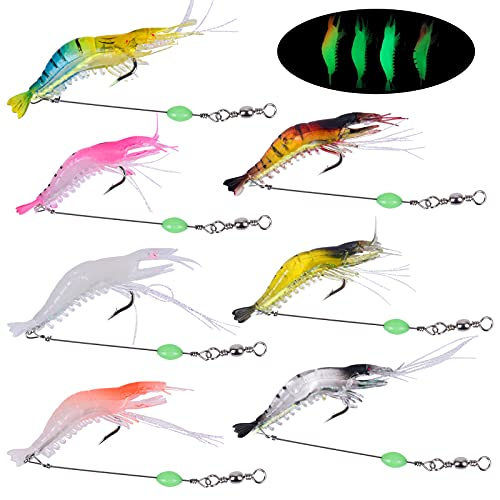 Pinsheng 7 Piezas Cebo camarón Artificial, Señuelo de Pesca de camarón Luminoso...