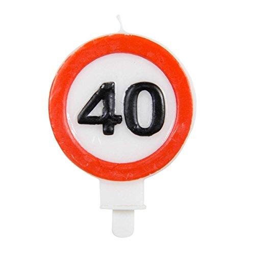 Velas con número 40, señal de tráfico de cumpleaños