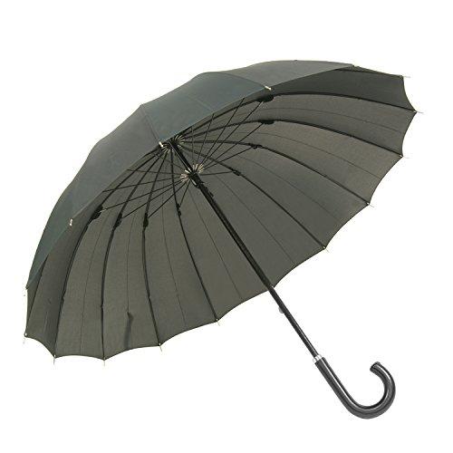 siroca雨傘煌-kirameki-耐風傘16本骨組モスグリーン[高強度グラスファイバー/DuPont(デュポン)社製/親骨65cm]