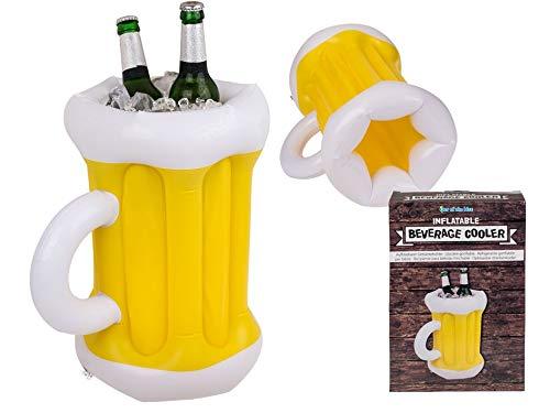 Topshop24you witziger Aufblasbarer Getränkekühler Bierkrug, Kunststoff, Mehrfarbig ca. 36 cm groß