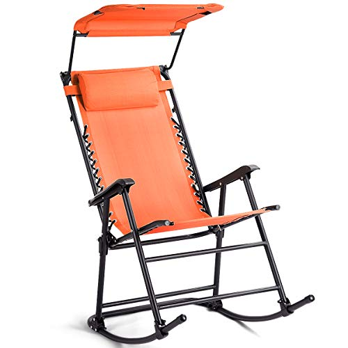 Goplus Folding Zero Gravity Rocking Chair, Portable Wide Recliner for Outdoor Lawn Beach Patio Pool w/Shade Canopy