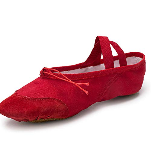 QHGao balletschoenen van linnen, voor kinderen en peuters, voor dames en heren, voor voor en achter, elastisch, rood
