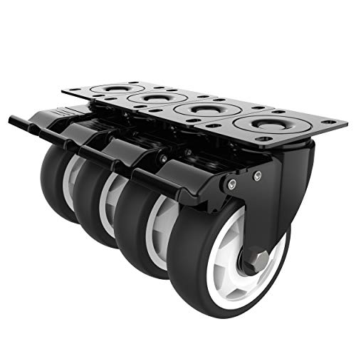 4 inch Swivel Caster Wheels with Safety Total Lock, 360 Degree Heavy Duty Plate Casters Total Capacity 1200lbs (pack of 4)
