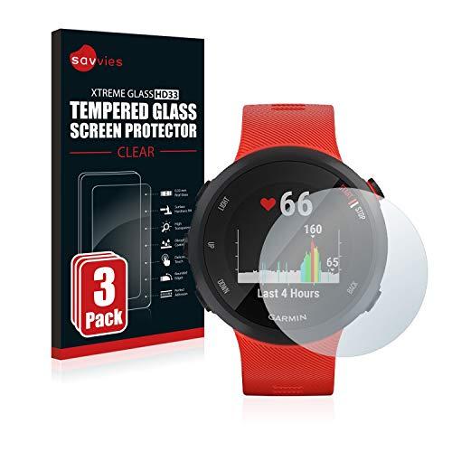 Savvies Panzerglas kompatibel mit Garmin Forerunner 45 (3 Stück) - Echt-Glas, 9H Festigkeit, Anti-Fingerprint