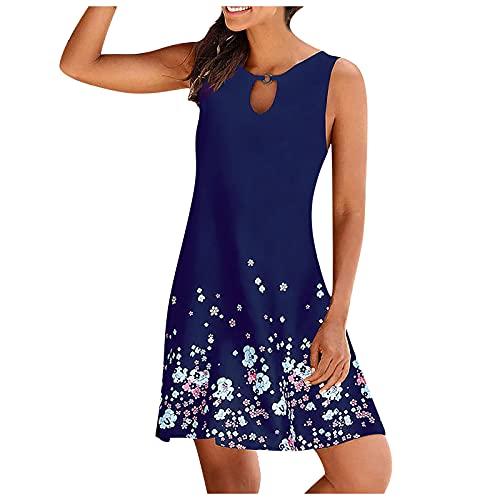 FQZWONG Women's Summer Soild O-neck Hollow Out Sleeveless Loose Skirt Dress for Beach Dating(B-Blue,4X-Large)