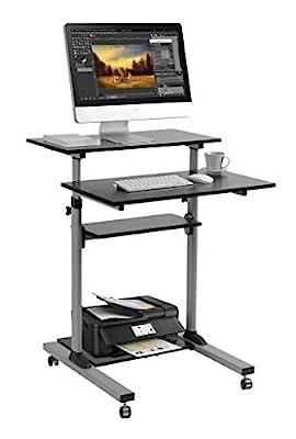 Mobile Standing Desk - TechOrbits Rolling Workstation Cart - Stand Up Media Podium Mobile Desk - Height Adjustable Computer Cart