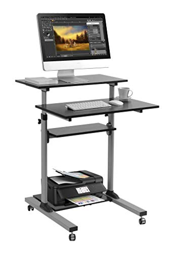 Mobile Standing Desk - TechOrbits Rolling Workstation Cart - Stand Up Media Podium - Height Adjustable Computer Cart
