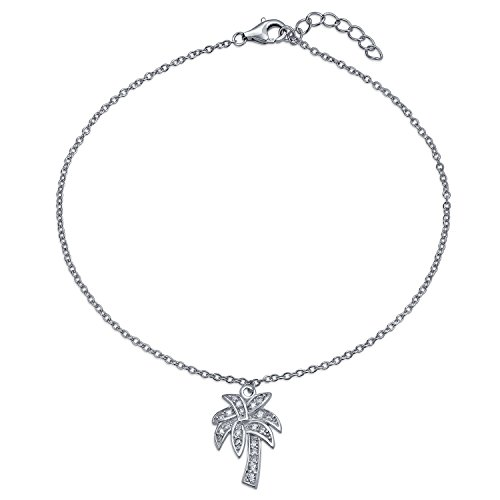 Tropical Palm Tree CZ Dangle Charm Anklet Link Cubic Zirconia Ankle Bracelet For Women 925 Sterling Silver 9-10 Inch
