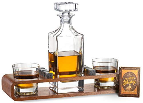 Whiskey Stones Gift Set for Men | Whiskey Decanter Set With Wood Stand | Bourbon Decanter with Scotch Glasses, 8 Granite Whiskey Stones| Ideal For Whiskey Lovers | Gift Set For Dad, Husband, Boyfriend