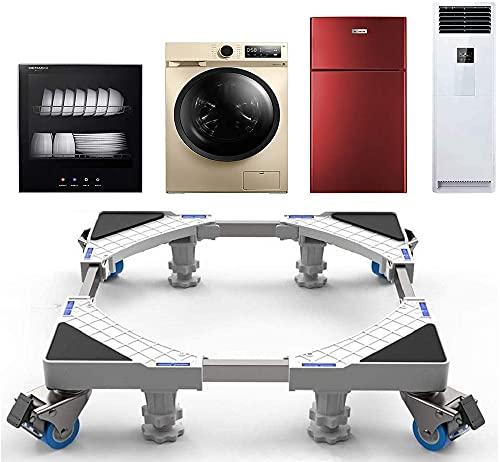 SEISSO Supporto per Lavatrice con 4 Ruote e 4 Piedini Regolabili per Asciugatrice Base per Frigorifero 45 cm-69 cm Carico 300 kg Con Effetto Antivibrazione e Riduzione del Rumore