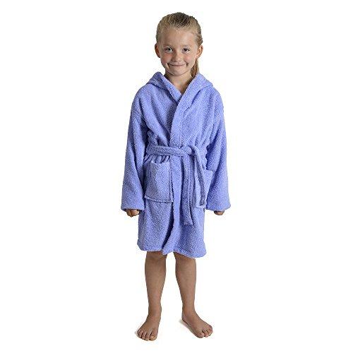CityComfort Enfants Dressing Robe Enfants garçons Filles Capuche Peignoir Peignoir 100% Coton éponge Serviette de Bain Robe Douce Usure de Salon 7-13 Ans (13, Lilas)
