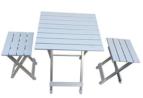 Fachhandel Plus Alu Camping Set 3-teilig Klapptisch Klappstühle stabile Möbel Indoor Outdoor Klapphocker