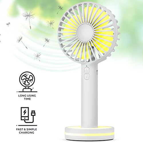 Function Labs Personal Mini USB Handheld Cooling Fan - Rechargeable, Compact, Portable, Adjustable 3 Fan Speed and Perfect for Kids/Camping- Comes with Magnetic Mirror Base (White)