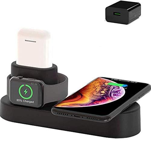 Xflelectronic Cargador inalámbrico para Iwatch, estación de Carga inalámbrica rápida Qi 3 en 1 de 10 W, para IWatch/Airpods/iPhone 12/12 Pro / 12 Pro MAX / 11 / 11Pro / 11 Pro MAX/XS MAX/XR/X / 8