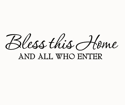 Bless This Home and All Who Enter Wall Decals Quotes Religious Sayings Vinyl Wall Art Decor Home Blessing