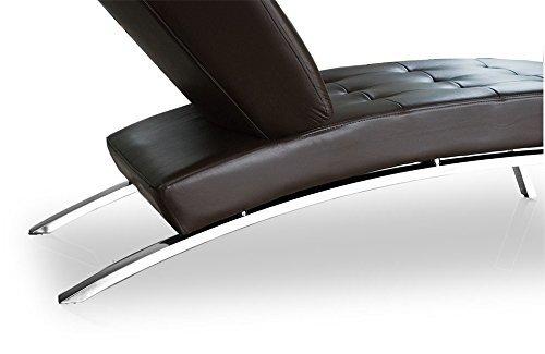 NEUERRAUM Bauhaus Daybed Chaiselongue Lounge-Sessel Relax Liege Couch Sofa Echtleder, Fuß Edelstahl poliert. Abbildung in Dunkelbraun.
