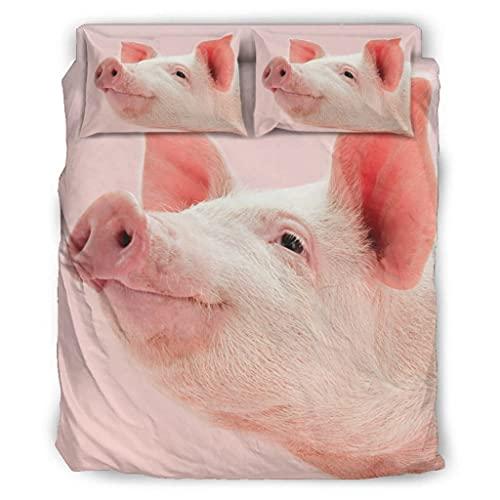 Wandlovers Juego de ropa de cama de 4 piezas, divertido estampado de cerdo rosa, ligera, funda nórdica y funda de almohada, 228 x 264 cm, color blanco