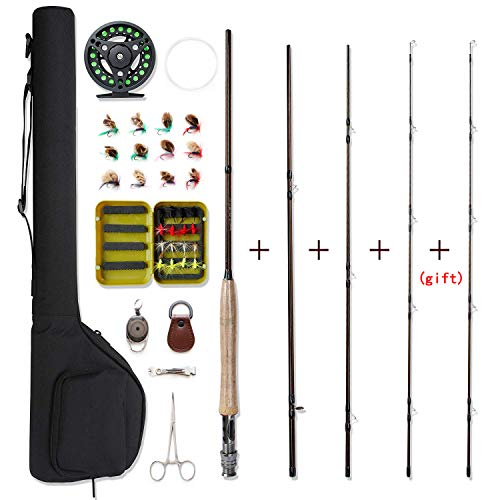NetAngler Fly Fishing Rod and Reel Combo 4-Piece Fly Fishing Rod 5wt Aluminum Fly Reel 28 Pieces Flies Kit with Free Rod Tip,Backing,and Cloth Carry Bag