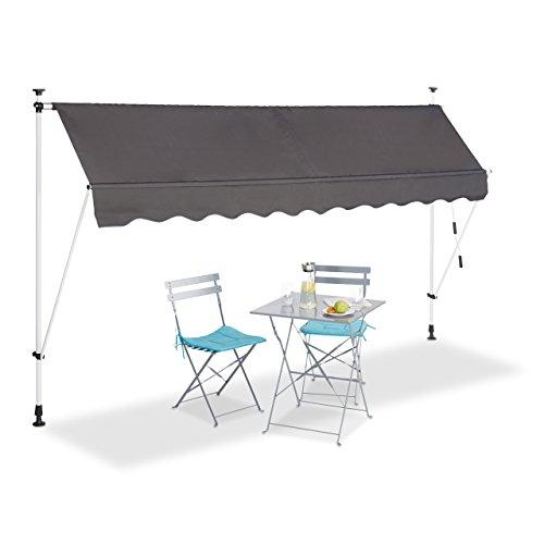 Relaxdays Klemmmarkise Balkon, Handkurbel, höhenverstellbar, UV-beständig, ohne Bohren, Polyester, 300 cm breit, grau