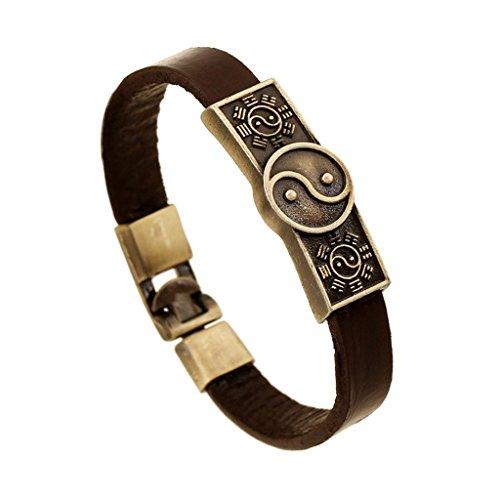 Bishilin Taiji-Bagua Yin-Yang Chinese Stil Vintage Legierung Mode Schmuck Braun Leder Manschette Wickeln Armreif Armband
