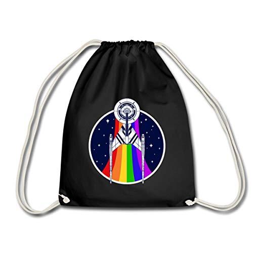 Spreadshirt Star Trek Discovery Gay Pride Regenbogen Emblem Turnbeutel, Schwarz