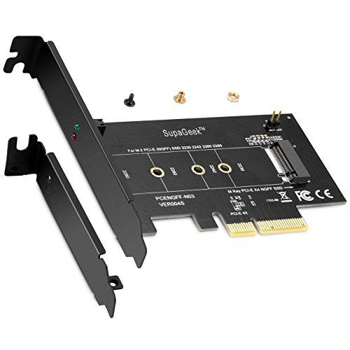 M.2 PCIe SSD zu PCIe Express 3.0 x4 Adapterkarte - Unterstützt M2 NGFF PCI-e 3.0, 2.0 oder 1.0, NVMe oder AHCI, M-Key, 2280, 2260, 2242, 2230 Solid-State-Laufwerke (SSD), von SupaGeek
