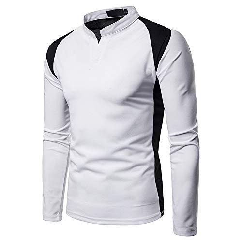 Men's T-Shirt Long Sleeve Men's Shirt with Henley Collar Fashion Patchwork V-Neck Casual Shirt Soft Work Shirt Slim Fit Light Shirt Business Leisure Fitness Sport Shirt XXL