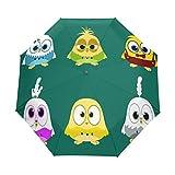 Paraguas de viaje compacto de Budgie Birds, color verde, para la lluvia, el sol al aire libre, el sol, el coche, el toldo reforzado, protección UV, mango ergonómico, apertura y cierre automático