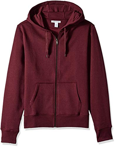 Amazon Essentials Men's Full-Zip Hooded Fleece Sweatshirt, Burgundy, Large