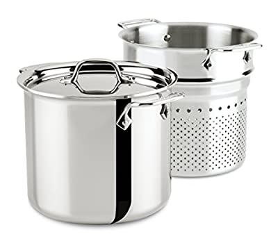 All-Clad Stainless Steel Tri-Ply Bonded Dishwasher Safe Pasta Pentola with Insert / Cookware, 7-Quart, Silver