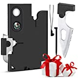 Upgraded Credit Card Multitool - Tools Gifts for Men 10 in1 Survival Gear Kit, Everyday Carry for Survival Wallet Multi-Tool Gadget with Screwdrivers Compass, Christmas Stocking Stuffers for Men/Women