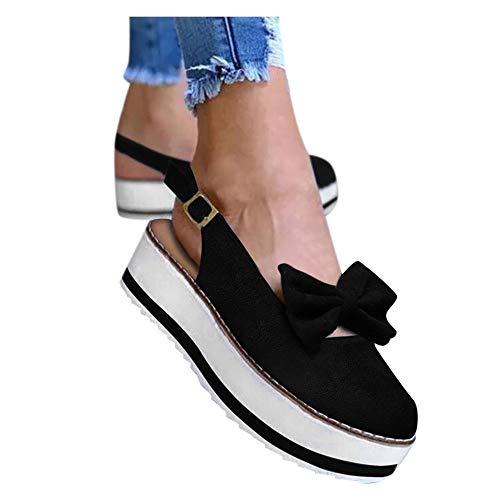 Aniywn Womens Closed Toe Casual Slingback Sandals,Summer Espadrille Bow Sandals Closed Toe Platform Wedge Sandals Black