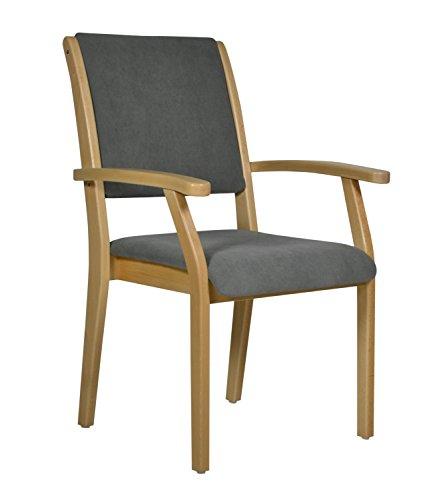 DEVITA - Seniorenstuhl Pflegestuhl Kerry - Verschiedene Sitzhöhen wählbar von 43 cm bis 55 cm (55 cm Sitzhöhe, Holz: Buche hell - Bezug: 147 Microfaser Taube)