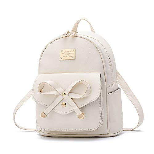 Vinteen Backpack Girls PU Leather Cute Mouse Bowknot Mini Fashion Knapsack Satchel Shoulder Hiking Travel Casual School Bag (Color : White)