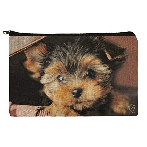 Yorkie Yorkshire Terrier Puppy Dog in Briefcase Trunk Suitcase Pencil Pen Organizer Zipper Pouch Case